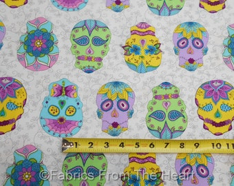 Sugar Skulls Floral Day of Dragonfly on White Vines BY YARDS Blank Cotton Fabric