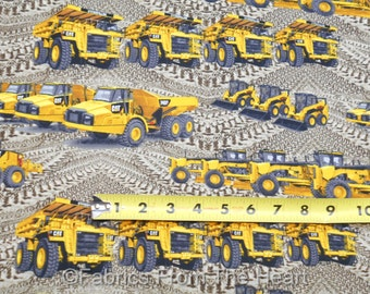 Caterpillar Construction Site Dump Trucks on Tire Tracks BY YARDS Cotton Fabric