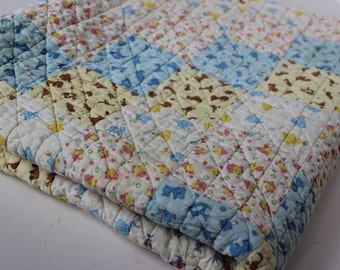 Vintage Patchwork Baby Quilt Antique Quilt 100% Cotton  Pink Blue Yellow White Brown Rocking Horse Chick Teddy Bear Wagon Duck Kite Train