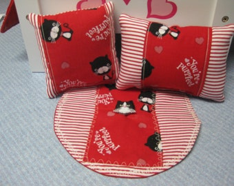 3 Piece American Girl Inspired Rug And Matching Your Perffect Cat Pillows With Cat Button