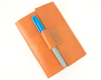 Peach & Aqua Leather Journal / Sketchbook. Handmade Longstitch refillable notebook in Orange and Turqoise. Made in Britain ships worldwide.