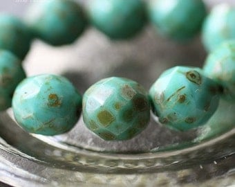 10% off TURQUOISE POPS .. 6 Picasso Czech Faceted Glass Beads 12mm (2119-6)