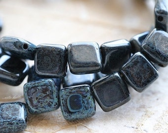 10% off BLACK DENIM TILES .. 25 Picasso Glass Czech Tile Beads 6mm (3787-st)