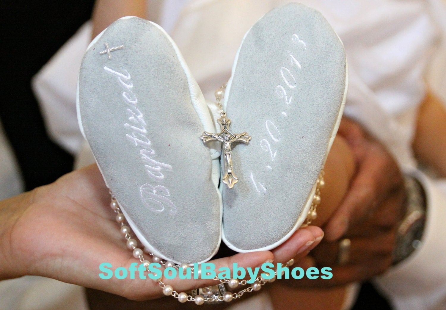 white leather baby Shoes Baptism chistening Shoes personalized