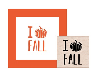 I Love Fall Rubber Stamp
