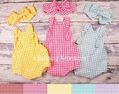 SALE Baby Girl Clothes, Toddler Girl Clothes, Sunsuit Bubble Romper Spring Summer Summer Picnic by Charming Necessities - 5 Gingham Colors