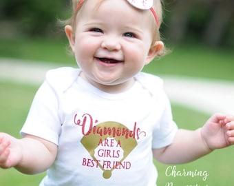 Baseball Sister Shirt, Softball Fan, Baby Girl Clothes, Toddler Girl Clothes, Baby Girl Outfits, Diamonds are a Girls Best Friend Custom Per