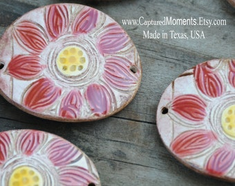 Handmade Pottery Bead with Tuscan Red and Yellow with a BOHO feel