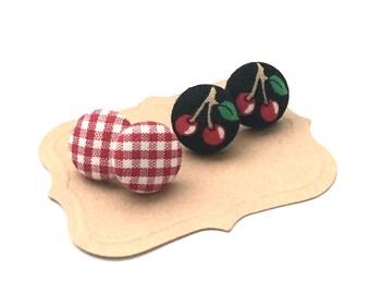 Fabric Button Earring, Cherry Print Earrings, Picnic, Post Jewelry, Stud Earrings, Mothers, Child Earrings, Plaid Earrings, Day Gift Set