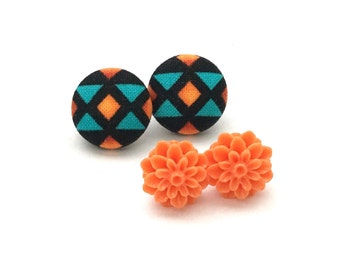Fabric Button Earring, Native American Print, Earrings, Post Jewelry, Stud Earrings, Resin Cabochon, Orange Flower, Gift Set, Tribal Print