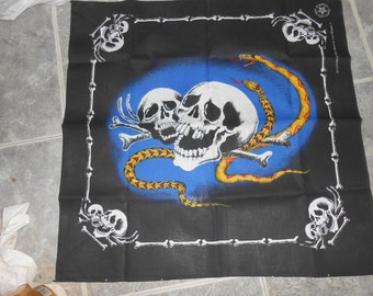 Biker Scarf Snakes and Skull design