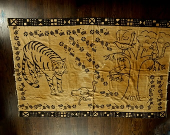 African Mud Cloth Wall Hanging or Throw, 82 x 52