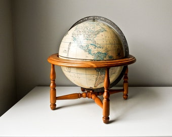 Vintage World Globe Rand McNally Terrestrial World Globe Wood Stand