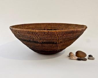 African Basket, Vintage Makenge Root Bowl, Handmade Basket