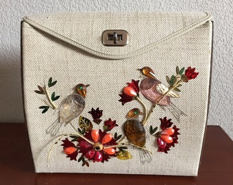 Unique Mid-Century Wood Bejeweled Bird Purse!
