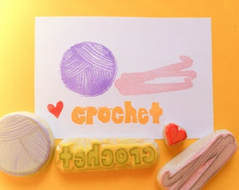 Crochet hand carved rubber stamp set, handmade rubber stamps