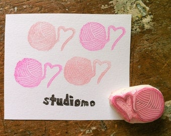 mini ball of yarn hand carved rubber stamp, handmade rubber stamp