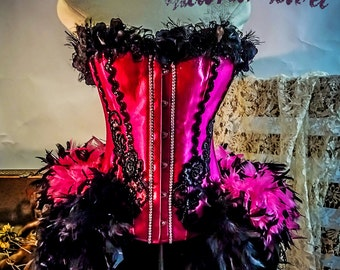 Victoria Velvet  Flamingo Burlesque Feather Corset Costume Dress L  XL