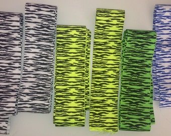 """Lot of 2.25"""" Grosgrain Neon ZEBRA ribbon  Over 14 yards - Great lot for making hair bows & Cheerbows"""