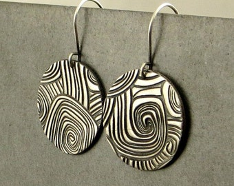 Fine Silver Wave Earrings, Disc Earrings, Dangle Silver Earrings, , Rustic Jewelry Gifts for Her Ready to Ship