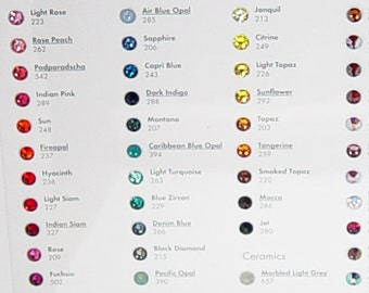 Swarovski Crystal Chart for Flat Backs Hotfix and No Hotfix Colors and Effects Including Cabochons