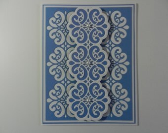 Birthday card blue and white