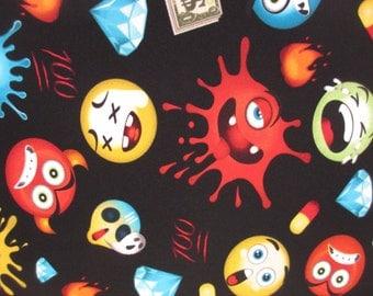 "Remnant Emoji Emotions Black Cotton Jersey Knit Fabric 1/2 Yard (18x58"")"
