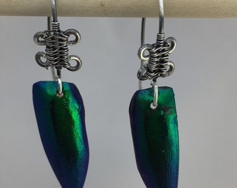 Emerald beetle wing