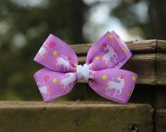 Purple Unicorn Three Inch Bow