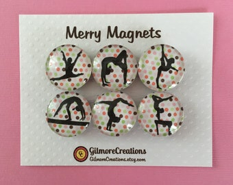 "Set of Magnets   Fridge Magnets  Glass Magnets  ""Girls Gymnastics"""