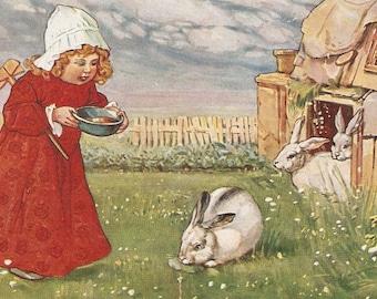 Easter Postcard  Little Girl feeds white bunny rabbits vintage postcard, antique German postcard vintage postcard, SharonFosterVintage
