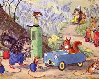Molly Brett postcard, vintage postcard, anthropomorphic postcard, Dressed Animals Woodland Garage, Medici Post card, Pk 244