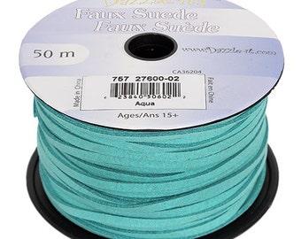 5 meters of Faux Suede - Aqua 2.5mm