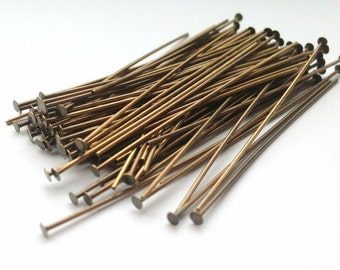 100pcs Antique Brass Head Pins-50mm (2 Inch) (With 2mm Head) (2827)(I-450)