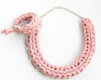 Pastel Pink Braided Necklace, Rose Quartz Cotton Necklace, Pink Knitted Necklace, Pink and Silver Necklace, Rose and Silver Jewelry.