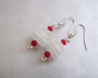 Valentine Gift - White Beach Glass Stacked Earrings - Dangle Earrings - Sea Glass