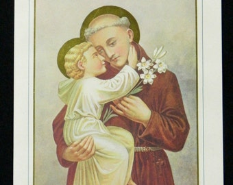 St. Anthony of Padua Religious Print Lithograph with Gold 1927 Polish Catholic 15618