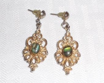 1960s Vintage Drop Earrings Gold Tone with Green Cabochons Pierced Ears