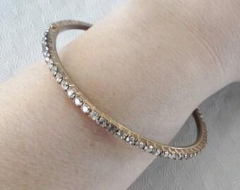 50s 60s Vintage Rhinestone Bangle Bracelet