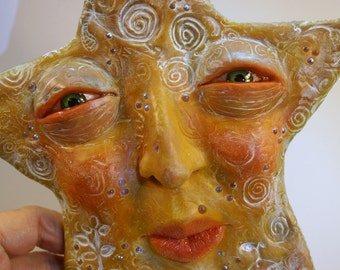 ooak twinkle twinkle little STAR polymer clay ( # 3 ) wall decor original hand sculpt   by DinkyDarlings elf pixie faery
