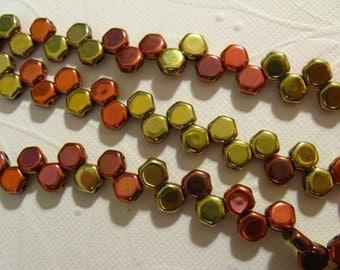 Honey Comb Beads 6mm - 2 Hole Czech - Calif Gold - 30 Beads