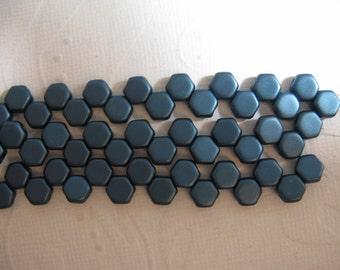 Honey Comb Beads 6mm - 2 Hole Czech - Pastel Petrol - 30 Beads