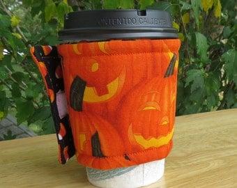Handmade Coffee Cozy or Sleeve, Coffee Sleeve, Cup Sleeve, Adjustable Cup Sleeve, Halloween