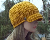 Mustard Yellow Cadet Hat, Womens Military Cap with Metal Buttons, Crochet Hat with Visor, Hats for Women, Gift for Her