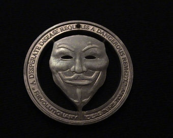 ANONYMOUS - Hand Cut Bronze Medallion - VENDETTA - GuY FawKes - BraND NeW!!