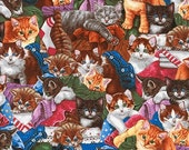 One (1) Yard -Whiskers and Tails Cute Kitties Cat Fabric by Robert Kaufman AJN-16392-205 Multi
