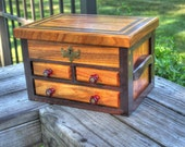 Mid-size Canarywood and Tropical Walnut Jewelry Chest