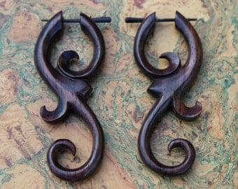 Fake Gauge Earrings organic Stick Wood Earrings Fancy Wing Feather Tribal hand made fake piercings