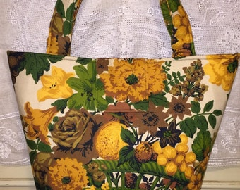 Large Vintage Mid Century Fabric Purse Basket Flowers Fruit