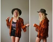 ON SALE 1950s Suede & Fringe Mont Jacket >>> Size Extra Small to Small